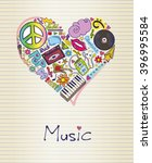 music in shape of heart | Shutterstock .eps vector #396995584