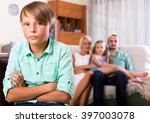 portrait sad little boy had... | Shutterstock . vector #397003078