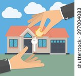 real estate agent hand giving... | Shutterstock .eps vector #397004083