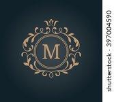elegant floral monogram design... | Shutterstock . vector #397004590