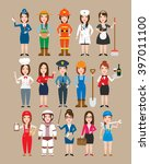 women professions set.police... | Shutterstock .eps vector #397011100