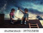 children reading a book sitting ... | Shutterstock . vector #397015858