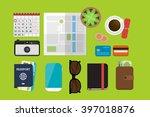 flat lay travel vector... | Shutterstock .eps vector #397018876