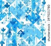 blue arrows chaotic pattern....   Shutterstock . vector #397021780