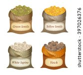 four untied sacks with beans ... | Shutterstock .eps vector #397026376