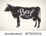 graphical silhouette cow and...   Shutterstock .eps vector #397029223