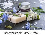 soap  cream and bath salt with... | Shutterstock . vector #397029520