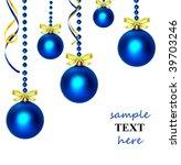 christmas balls on white... | Shutterstock . vector #39703246
