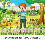 father and son watering the... | Shutterstock .eps vector #397040050