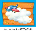 frame design with airplane... | Shutterstock .eps vector #397040146