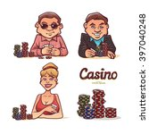 poker players  man in... | Shutterstock .eps vector #397040248
