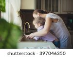 daughter with her mother to... | Shutterstock . vector #397046350