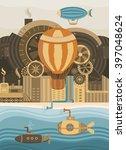 steampunk vector background.... | Shutterstock .eps vector #397048624