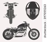 vintage image motorcycle set... | Shutterstock . vector #397055263