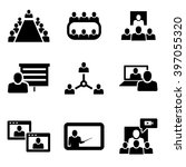 vector conference icons set.... | Shutterstock .eps vector #397055320
