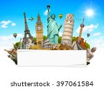 famous monuments of the world... | Shutterstock . vector #397061584