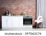 modern kitchen furniture... | Shutterstock . vector #397063174