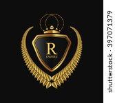 vector royal shield with golden ... | Shutterstock .eps vector #397071379