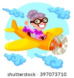 cartoon old lady flying an... | Shutterstock .eps vector #397073710