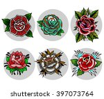 traditional tattoo flowers set | Shutterstock .eps vector #397073764
