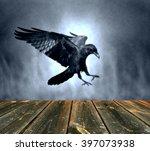 Flying Black Raven In Moonligh...