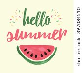 vector print with watermelon... | Shutterstock .eps vector #397084510