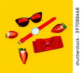Small photo of Fashion minimalism Mix. Fashionable Women's accessories. Red accent.