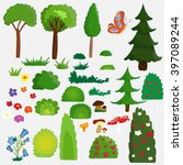 vector   isolated set of trees ... | Shutterstock .eps vector #397089244