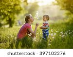 with mommy and dandelions | Shutterstock . vector #397102276