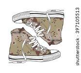 camouflage sneaker on light... | Shutterstock .eps vector #397105513