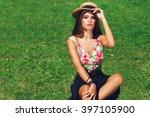 close up outdoor portrait of... | Shutterstock . vector #397105900