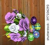 3d rendering of decorated eggs... | Shutterstock . vector #397106293