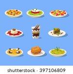 Italian Dish Set Flat Vector...