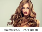 beautiful girl with long wavy... | Shutterstock . vector #397110148