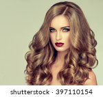 beautiful girl with long wavy... | Shutterstock . vector #397110154