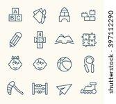 kindergarten line icons | Shutterstock .eps vector #397112290