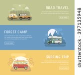 rv camping banners. car summer... | Shutterstock .eps vector #397135948