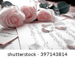 Beautiful Roses On Music Notes...