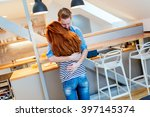 couple in love hugging to show... | Shutterstock . vector #397145374