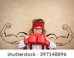 Stock photo funny winner child success leader and business concept 397148896