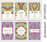 six wedding cards with orient... | Shutterstock .eps vector #397149523