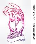 hand drawn pop art flesh... | Shutterstock .eps vector #397152088