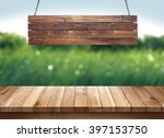 wood table with hanging wooden... | Shutterstock . vector #397153750