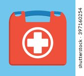 first aid kit box flat object....