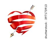red satin glossy ribbon heart... | Shutterstock .eps vector #397173913