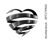 black satin glossy ribbon heart ... | Shutterstock .eps vector #397174963