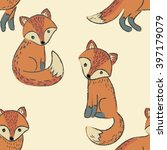 seamless pattern with cute foxes | Shutterstock .eps vector #397179079