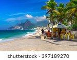 ipanema beach in rio de janeiro.... | Shutterstock . vector #397189270