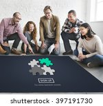 strategy puzzle fit jigsaw... | Shutterstock . vector #397191730