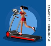 girl on the treadmill. running... | Shutterstock .eps vector #397209598